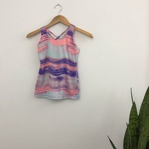 Ivivva Strappy Back Tank Top Pastel Pink Blue B7